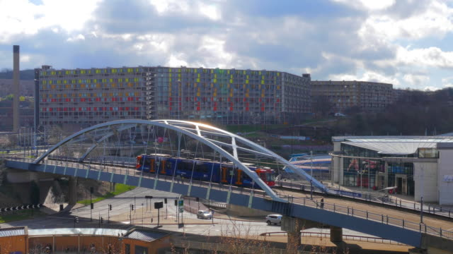 Cityscape tramway bridge near Fitzalan Square - Ponds Forge Sheffield, South Yorkshire, United Kingdom video