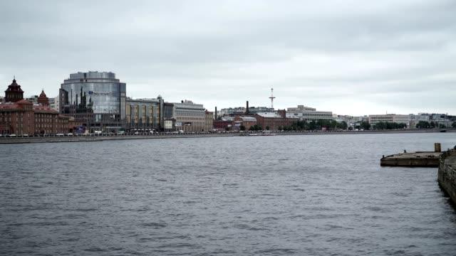Cityscape view on river Neva video