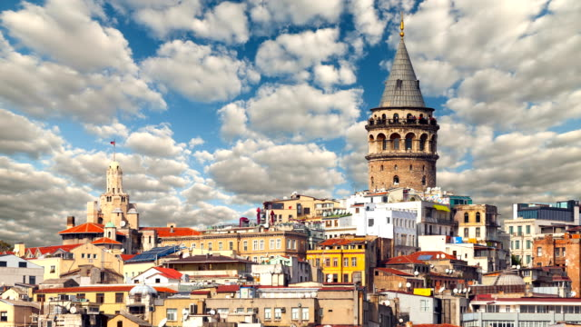cityscape with Galata Tower over the Golden Horn in Istanbul, Turkey. video