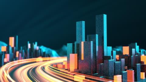 vidéos et rushes de paysage urbain avec des stries légères - horizon urbain, flux de données, internet des objets, modèle architectural, trafic et transporation - paysage urbain