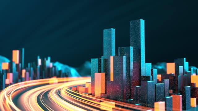 帶有光線條紋的城市景觀 - 城市天際線、資料流程、物聯網、建築模型、交通和交通 - golden ratio 個影片檔及 b 捲影像
