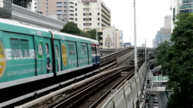 Cityscape with sky train or BTS mass transit system in Bangkok Cityscape with sky train or BTS mass transit system in Bangkok. tanzania stock videos & royalty-free footage