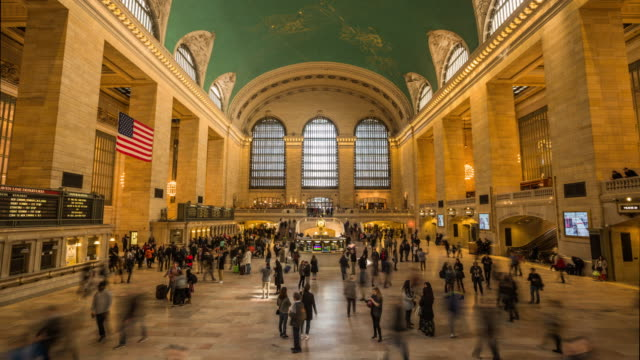 4K Cityscapes, Landscapes & Establishers : Grand Central Terminal New York City Time lapse shot of commuters inside Grand Central Station on 42nd Street in New York, New York State, USA. station stock videos & royalty-free footage