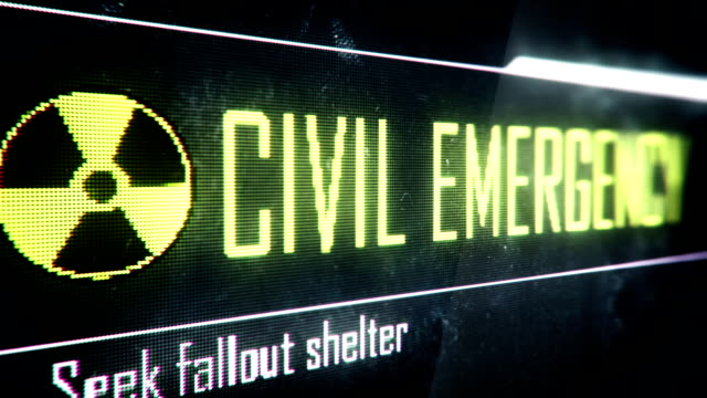 Civil emergency, seek fallout shelter screen text, system message, notification video