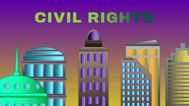 Civil Rights Word Shattered on Cityscape The word civil rights are shattered against the buildings and skyscrapers  of a colourful cityscape with a rising sun. The animation can be placed together in a series in a seamless loop. civil rights stock videos & royalty-free footage