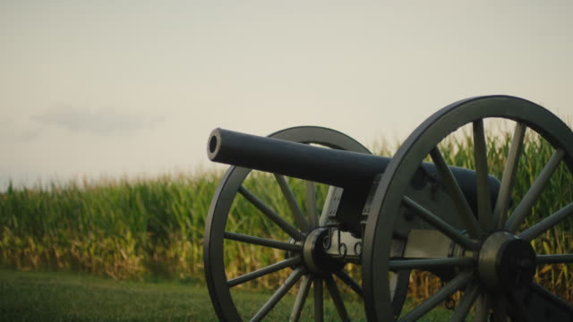 A US Civil War Cannon from Gettysburg National Military Park, Pennsylvania Next to a Corn Field