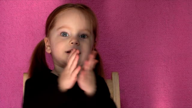 Clapping Girl (HD,NTSC) Happy little two-year-old girl clapping. pigtails stock videos & royalty-free footage
