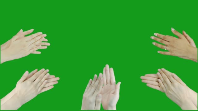 clapping hands green screen motion graphics - mano donna dita unite video stock e b–roll