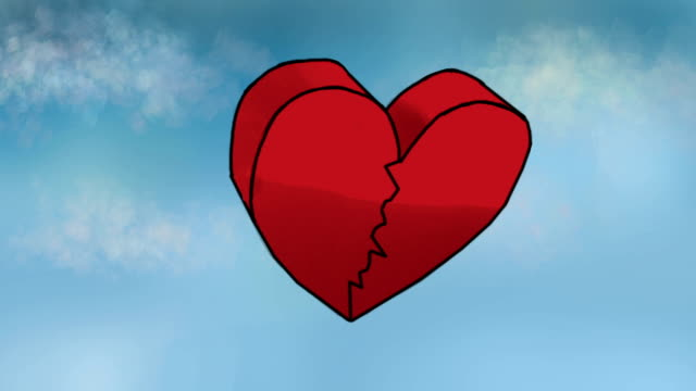 stockvideo's en b-roll-footage met classic animation. broken heart falling down from the sky - liefdesverdriet