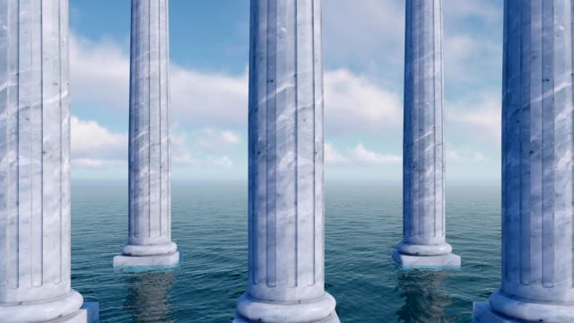 Classic antique columns among sea 3D concept Antique colonnade, classic tuscan order columns of white marble in a row, partially flooded by water among open sea against cloudy sky. Close up view concept 3D animation. architectural column stock videos & royalty-free footage