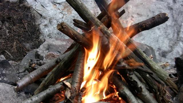 Classic campfire. Closeup w/sound. video