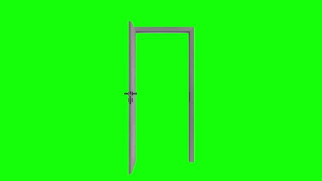 classic design door opening to green screen. stock video Door, Chroma Key, Opening, Open, Tube