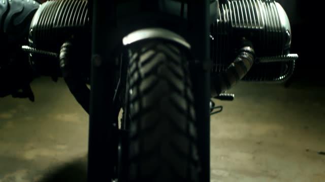 Classic Motorbike Parked In Repair Shop Biker Lifestyle