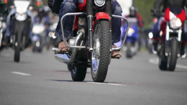 HD - Classic motorcycles. Bottom view of a Bikers riding