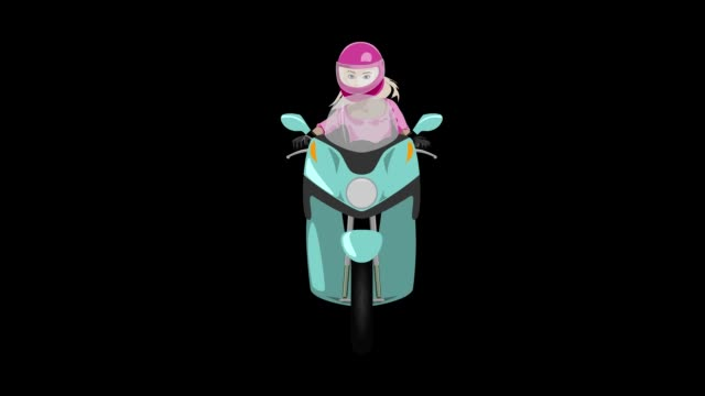 Classic scooter with girl rider front view graffiti style looped animation