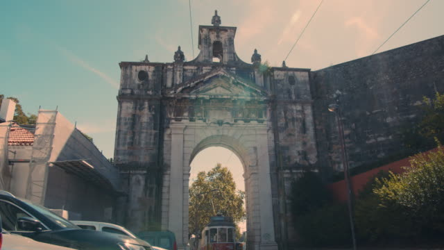 classic tram in the historical part of the city lisbon, portugal - tranvia video stock e b–roll