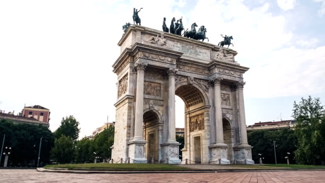 Classical Arch and People in a square video