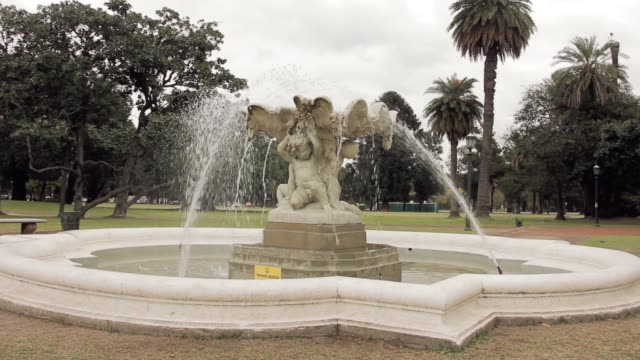 Classical Fountain Figure In Marble in Parque Tres de Febrero, popularly known as Bosques de Palermo (Palermo Woods), an urban park in Buenos Aires, Argentina.