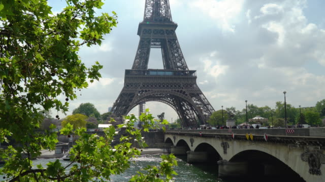Classical view of the Eiffel Tower and Seine river