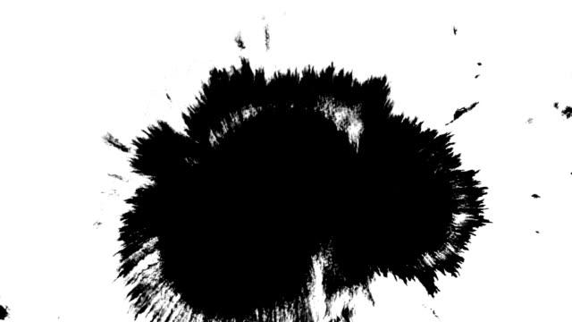Clean black matte ink spot splatter mask isolated on white background. Big spote, spreading from the center. Can be used in projects like logo reviles, masks, mattes, blending mode, etc.