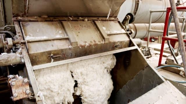 ren bomull flyter inuti en maskin i en stor industriell bomull gin - cotton growing bildbanksvideor och videomaterial från bakom kulisserna