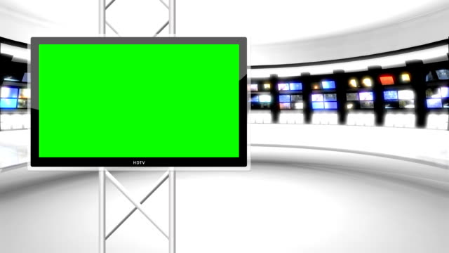 Clean, futuristic news room green screen background Left Monitor video