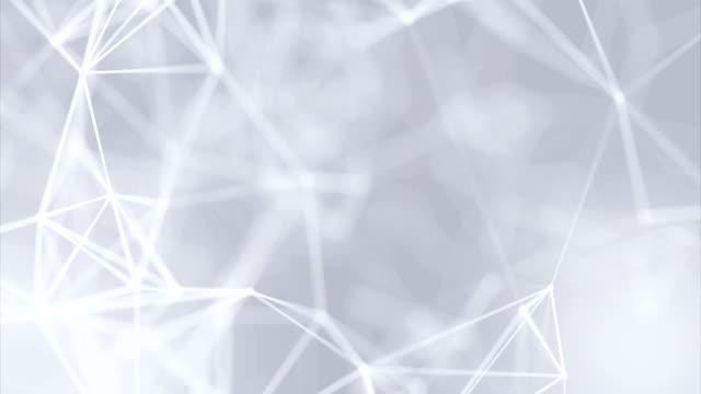 vídeos y material grabado en eventos de stock de limpio blanco resumen poligonal digital concepto geométrico polígono plexo fractales en movimiento baja poli fondo de elemento de diseño minimalista de tecnologías para la presentación de negocios corporativos - plexo