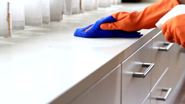 cleaning house wiping dust with wet rag on white desk at bedroom - lysol stock videos & royalty-free footage