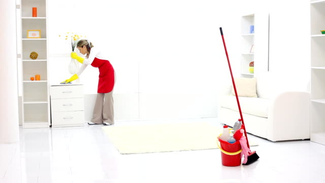 Cleaning lady finishing work. video
