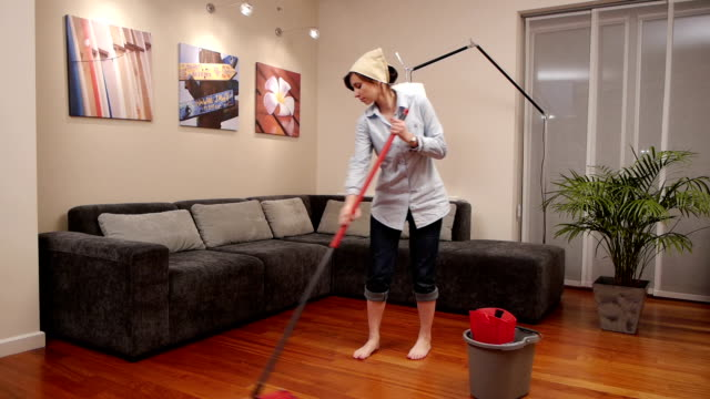 cleaning lady living room mop video