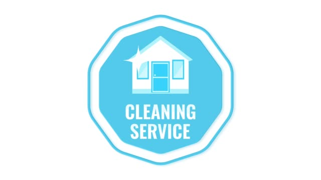 Cleaning service logo isolated on white background. Cleaning service logo isolated on white background. House and office cleaning, washing windows, carpets and furniture. 2D animation background. Video footage. Flat cartoon motion graphics. housing logo stock videos & royalty-free footage