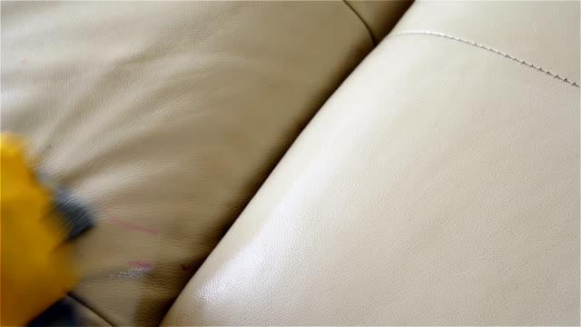 vídeos y material grabado en eventos de stock de limpieza sofá con una toalla mojada azul de cerca - piel textil
