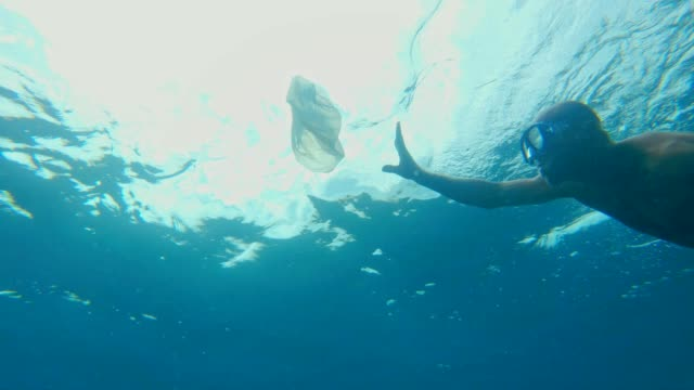 vídeos y material grabado en eventos de stock de limpieza del océano. hombre cogiendo la bolsa de plástico bajo la superficie del mar - vida sostenible
