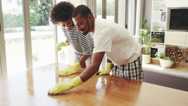Cleaning together as a couple makes it fun