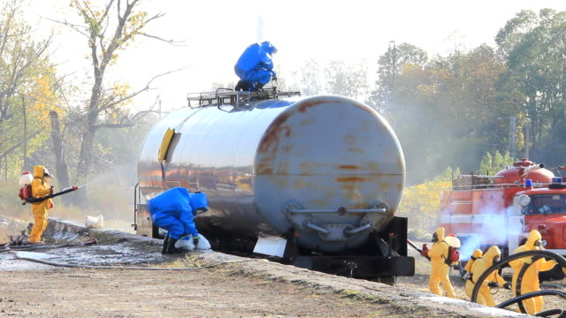 Cleaning up after chemical accident video