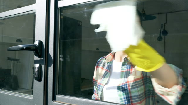 Cleaning window. video