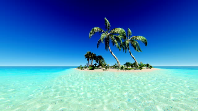 Clear blue sky over tropical island video