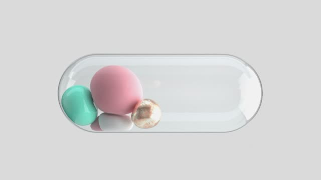 clear capsule soft sphere inside rolling abstract object 3d render motion video