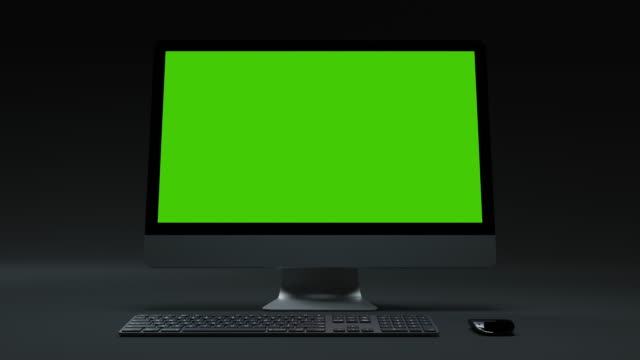 Clear Green Screen Computer for Presentation Business Blog or Gaming Applications. Motion Monitor with Chroma Key for Advertising Mock Up or News Site. Pc Desktop Greenscreen Background Closeup Nobody