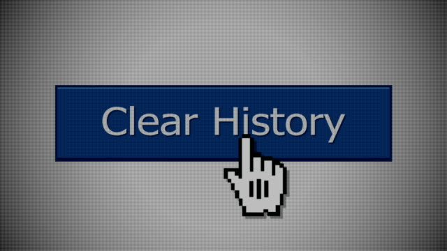 Clear History Button A close-up shot of an CLEAR HISTORY internet website button.  With optional luma mattes. web browser stock videos & royalty-free footage