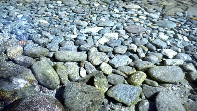 Clear water and stones in river