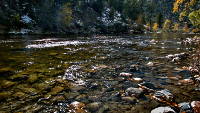 Clear water in mountain river video