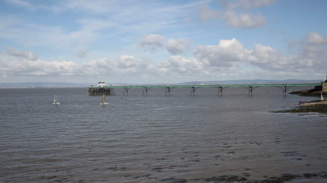 Clevedon Somerset England pier and seafront pan near Bristol video