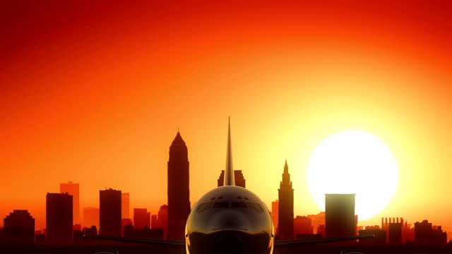 Cleveland Ohio USA America Skyline Sunrise Take off video