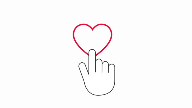 4 click / touch style on heart shape / like button animation in 4k on white background - icona mi piace video stock e b–roll