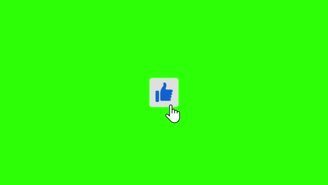 clicking like subscribe and notifications buttons on green screen - icona mi piace video stock e b–roll