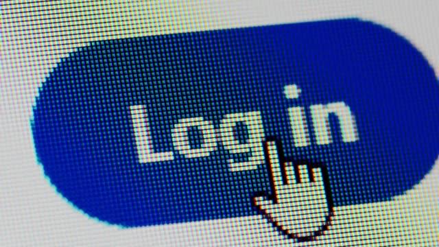 ソーシャル メディアへのログイン ボタンでログインをクリックするとマクロ - パスワード点の映像素材/bロール