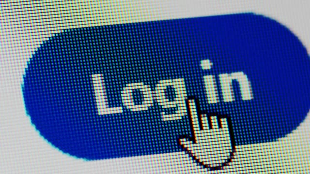 clicking log in button, logging to social media, macro - icona mi piace video stock e b–roll