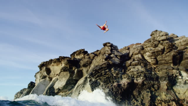 Cliff Jumping into Ocean. video