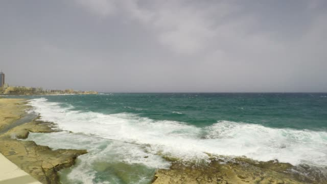 Cliff Waves, Mediterranean Sea, Republic of Malta, Real Time video